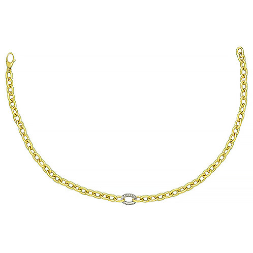 Gold Chain Necklace with Diamond Center