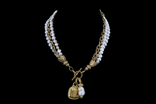 Triple Strand Pearl and Chain Necklace with Bee Medallion