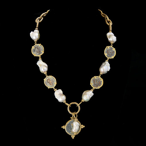 Vintage Pearl Necklace with Segmented Coins