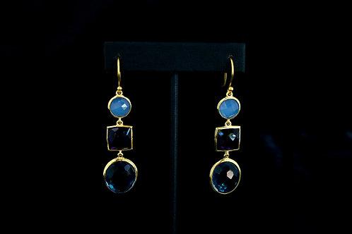 Chalcedony, Amethyst, & Blue Topaz Earrings