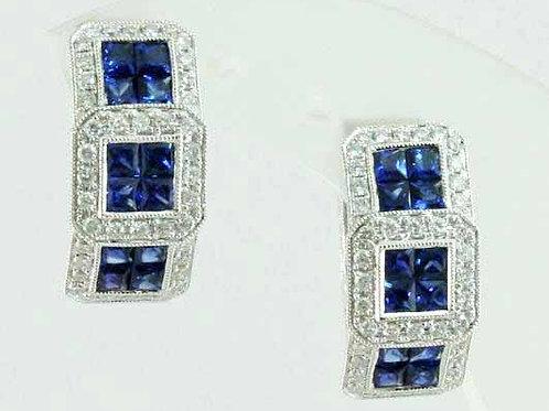 18K Blue Sapphire Earrings