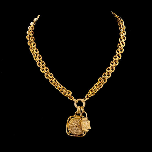 Double Chain Necklace with Charms