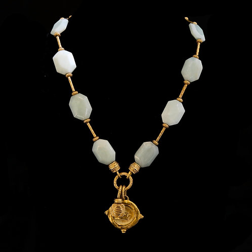 Amazonite Necklace with Crown Charm Drop