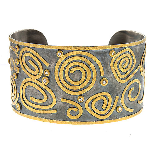 Silver Cuff with 24K Gold and Diamonds