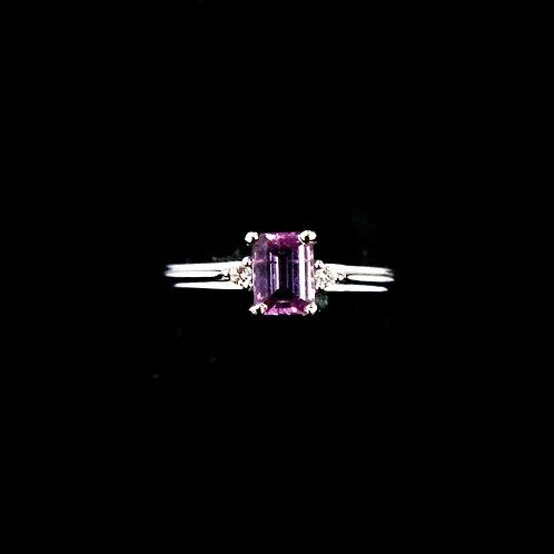 Emerald Cut Pink Tourmaline Ring
