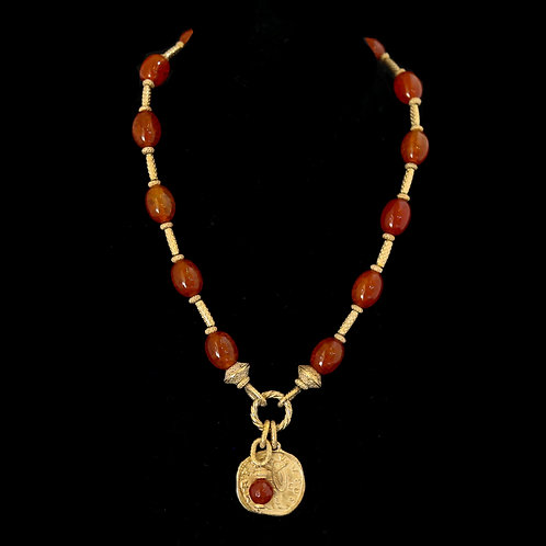 Carnelian Necklace with Gold Sticks and Coin Drop