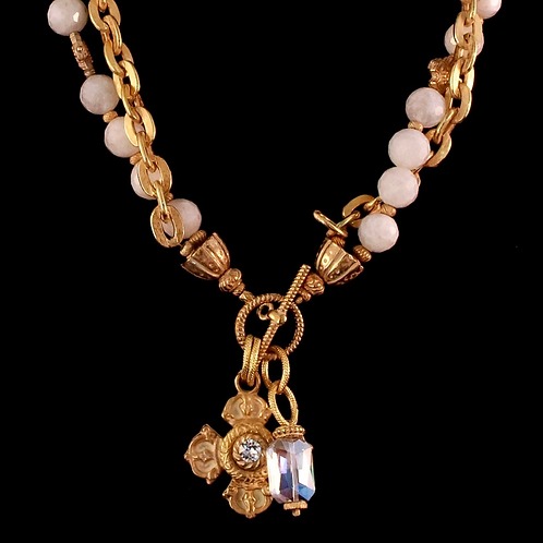 Moonstone Bead Necklace with Crystal