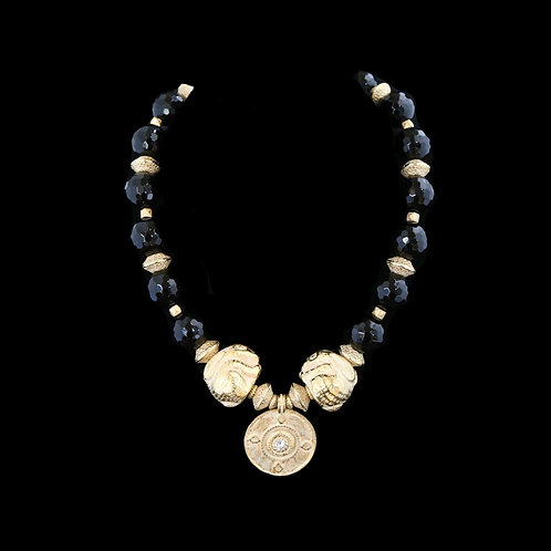 Black Onyx Necklace with Medallion