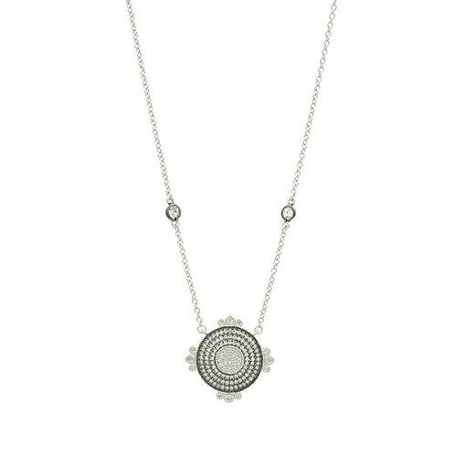 Silver Ideal Round Pavé Pendant Necklace