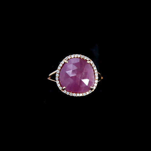 Sliced Pink Sapphire Ring