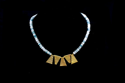Sliverlite Beaded Necklace with Gold triangles