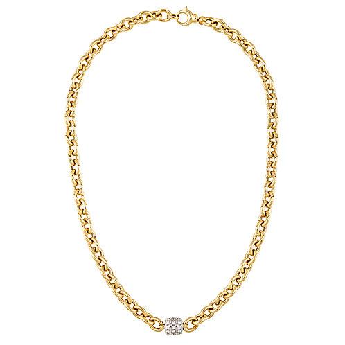 14K Oval Link Necklace with Diamond Center