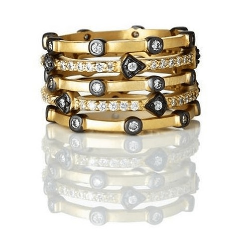 Mixed Thin Bezel Set of 5-Stacking Ring