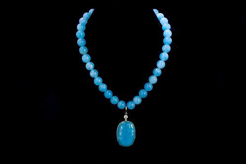 Aquamarine Necklace with Large Pendant