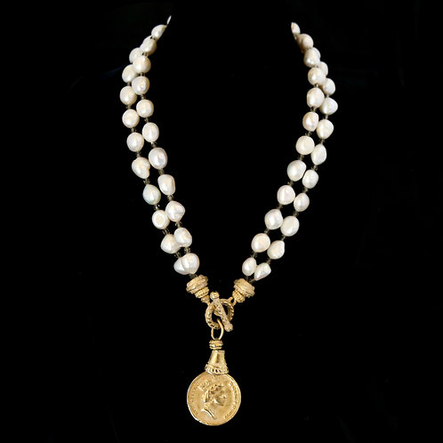 Long Double Strand Pearl Necklace with XL Coin Drop