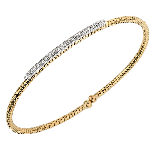 Diamond Bar Yellow Gold Bracelet