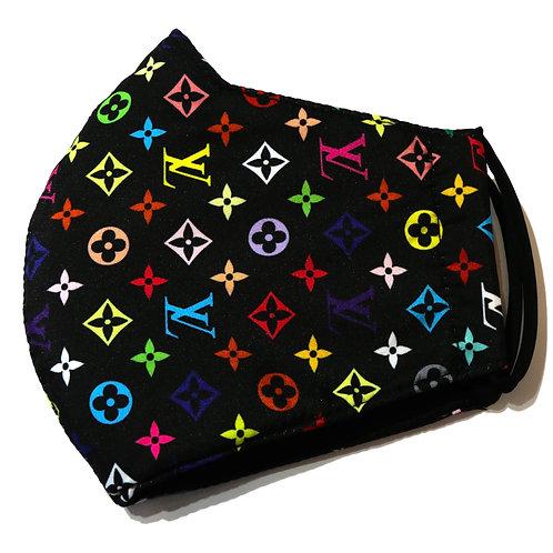 Black and Rainbow Small Print Fashion Mask