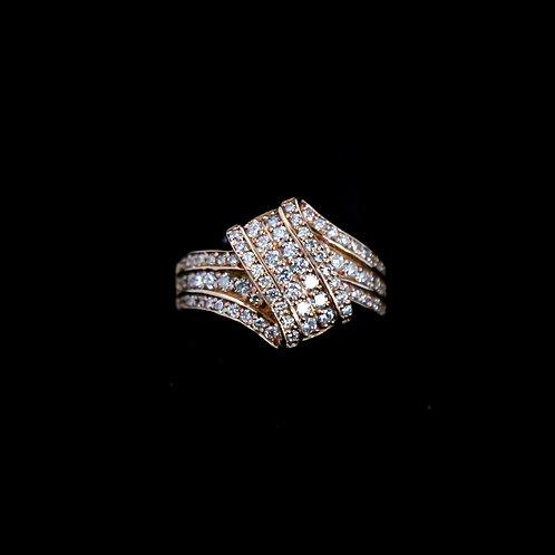 Ribbon Style Pave Diamond Ring
