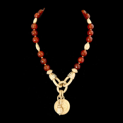 Carnelian Necklace with Coin Drop