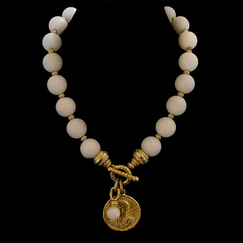 White Agate Necklace with Coin Drop