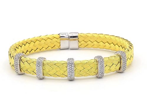 Gold Plated Woven 5 Section Bracelet