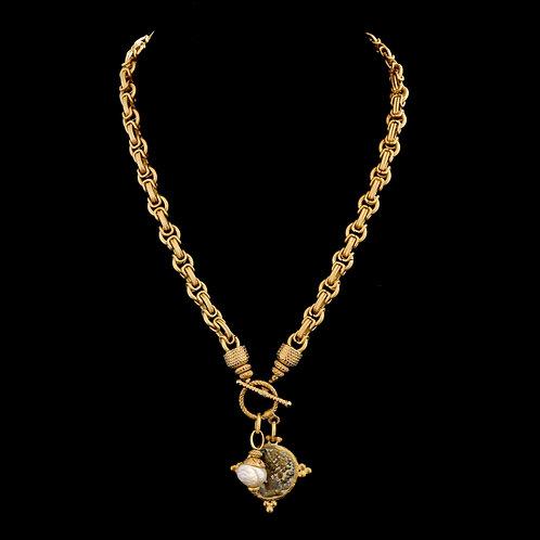 Byzantine Chain Necklace with Dark Coin Drop