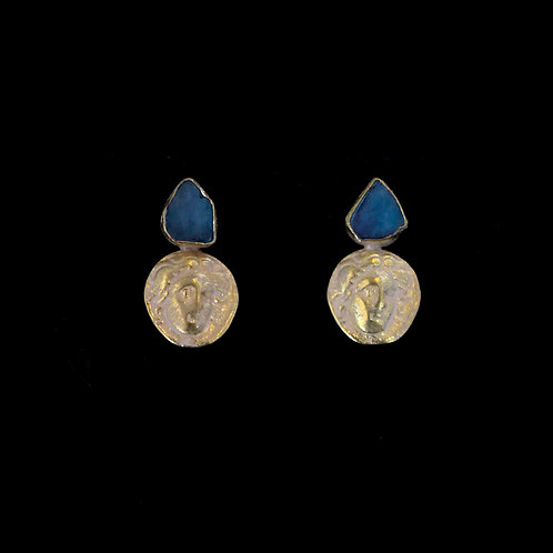 Labradorite and Coin Drop Earrings