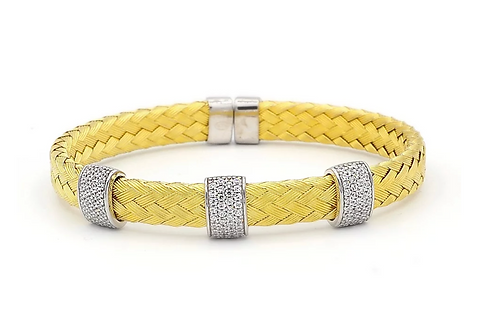 Italian Gold Plated Woven 3 Section Bracelet