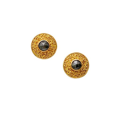 Black Diamond Round Post Earrings