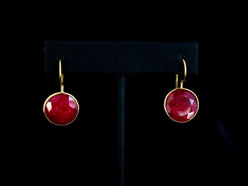 Coin Red Quartz Earrings