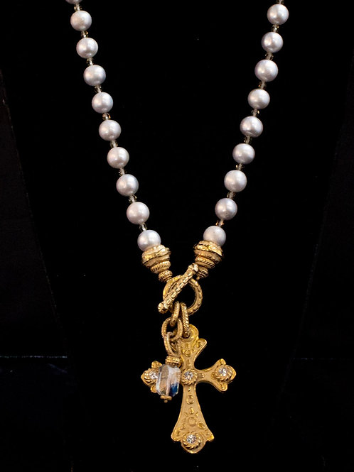 Long Pearl Necklace with Cross