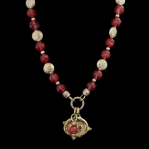 Strawberry Quartz Necklace with Bee Medallion