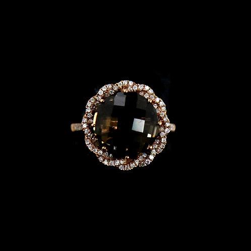 Smokey Quartz Flower Ring