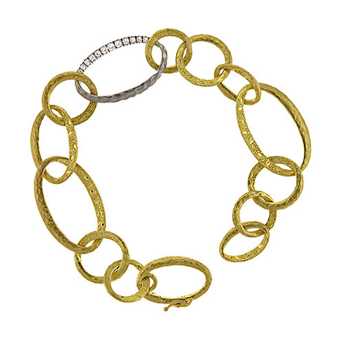 Gold Link Bracelet with Diamond Link Accent