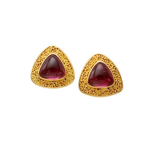 Triangular Pink Tourmaline Earrings