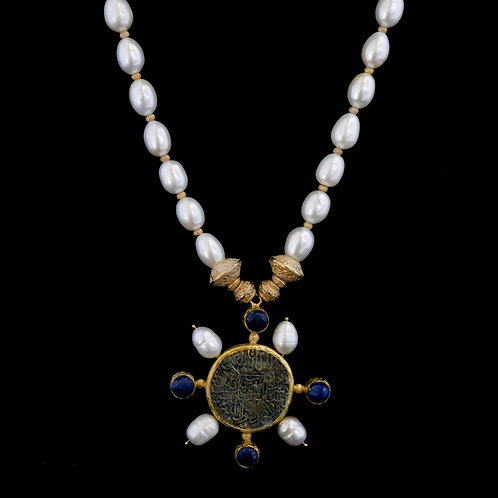 Long Pearl Necklace with Lapis / Pearl Medallion