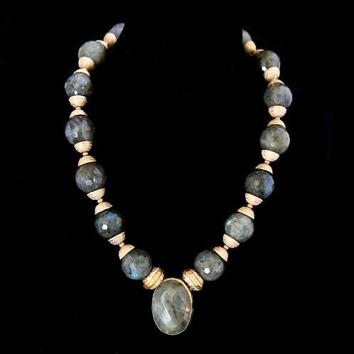 Large Labradorite Ball Necklace with Drop