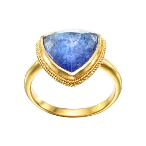 Triangular Blue Tanzanite Ring