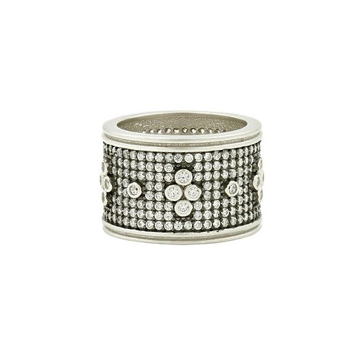 Silver Signature Pavé Clover Wide Band Ring