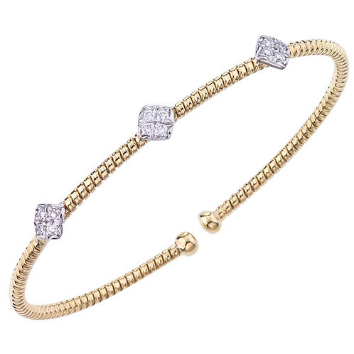 3 Section Yellow Gold Bracelet