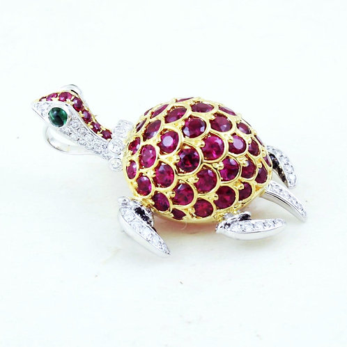 Ruby Turtle Pendant