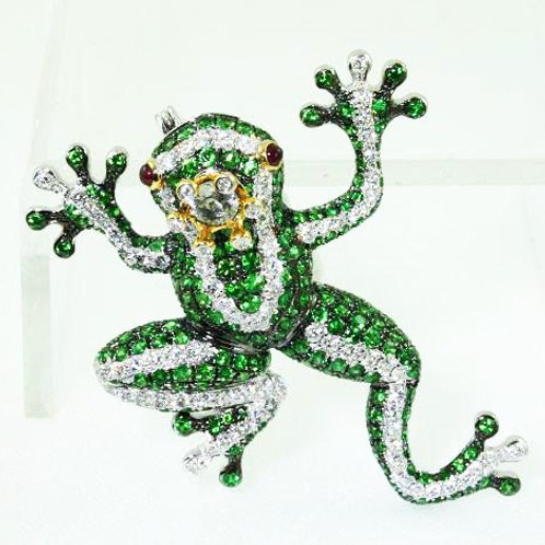 Green Garnet Frog Brooch