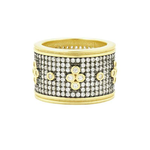 Gold and Black Signature Pavé Clover Wide Band Ring