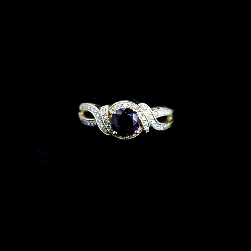 Amethyst Ring with Twisted Band