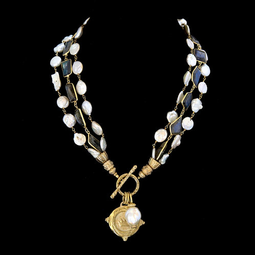 Triple Strand Pearl and Labradorite Necklace