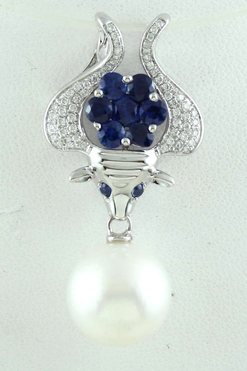 Blue Sapphire and Pearl Bull Pendant