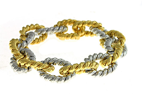 White and Yellow Twisted Link Bracelet