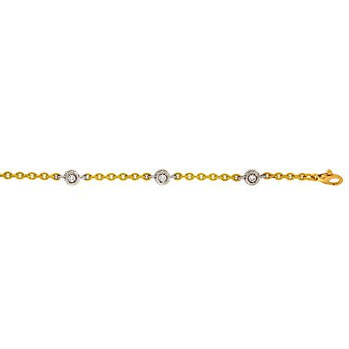 Textured Link Bracelet with Diamonds