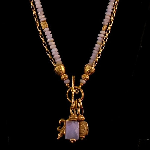Pale Periwinkle Bead Necklace with Charm