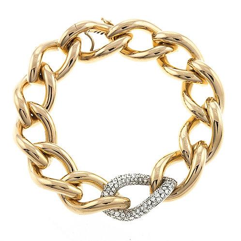 Twisted Chain Link Bracelet with Diamonds